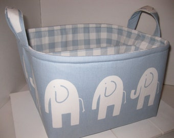 Large Diaper Caddy / Organizer Bin / Blue White Elephant - Plaid - Personalization Available