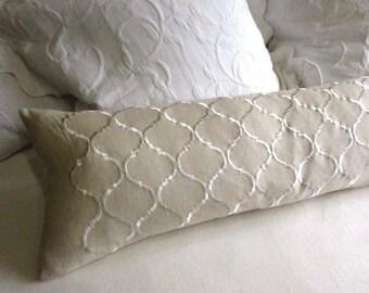 Greek Key 11x20 Burlap Bolster/ Lumbar pillow