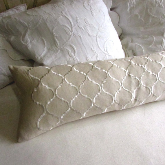 EMBROIDERED LINEN long decorative bolster pillow 12x52 insert