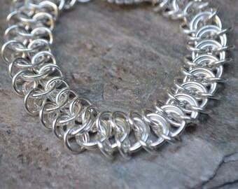 Handmade Sterling Silver Chainmaille Vertebrae Bracelet