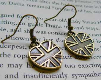 Bronze British Union Jack Flag Heart Earrings