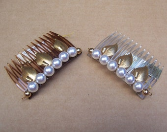 Vintage hair combs 2 mid century faux pearl hair accessory, hair jewelry decorative comb hair pin hair pick (XXE)