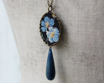 Vintage Floral Fabric Jewelry, Black Blue Pendant, Long Necklace, Drop Necklace, Teardrop Layering Jewelry, Large Oval Pendant, Unique
