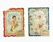 Antique Advertising Calender, 1897 Calendar, Embossed Die Cut, Cupid, Cherub, Star Accident Company Chicago, Set of Two