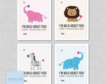 Printable Wild Animal Valentine's Day Cards . Kids Valentines Cards . Children's Classroom Valentines . Instant Download