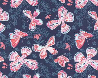 Blush Pink & Navy Butterfly Print from the Aria  Collection, by Kate Spain for Moda