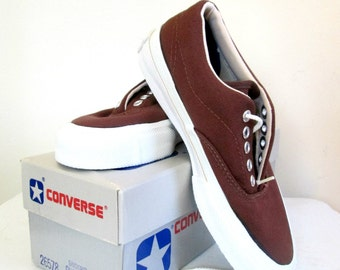 1970s Converse Skidgrip Canvas Sneakers Deadstock Vintage NIB Brown Small Size