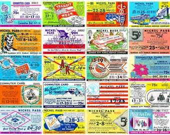 Transportation Ticket Passes - Digital Ticket Stub, Vintage Kansas City Bus Pass, Nickel Commuter Pass, Travel Clip Art Tag, Ticket Art, 95a