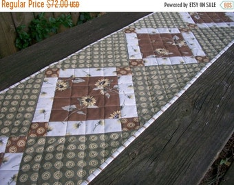 CIJ SALE Sunflower Table Runner Quilted Full Sun Green Brown Cream Quiltsy Handmade FREE U.S. Shipping