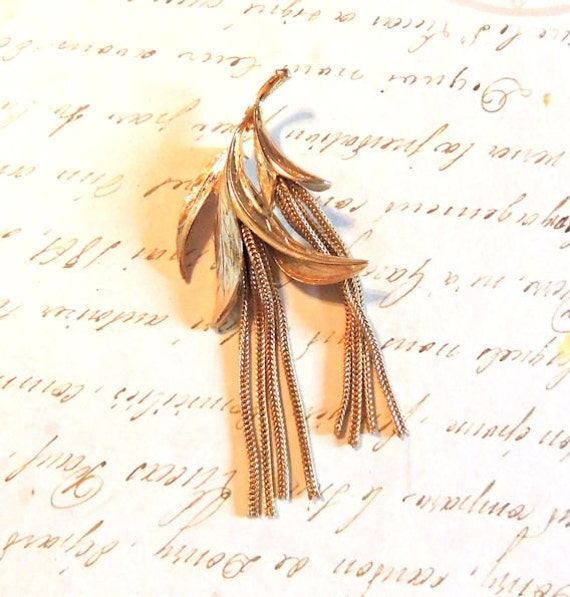 Spectacular Gold Kramer Brooch Pin Large with Tassels Vintage Jewelry