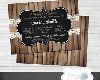 Bridal Wedding Shower Invitation Rustic Country Printable Digital Invite Bride Burlap Western Barn Wood Shabby Chic