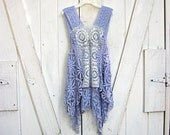 Bohemian vintage lace camisole, blue-violet, festival wear, boho top, gypsy hippie tunic, lace cami, boho, size Small-Large, Lily Whitepad