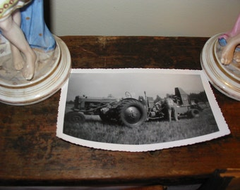 Vintage Photo Snapshot Farmer With His Tractor 1950's
