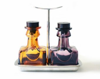 Mid Century Vinegar and Oil Set | Glass Jars | Purple | Brown Amber | Metal Stand | Vintage