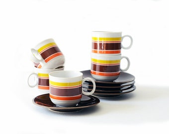 Vintage Espresso Cups and Saucers | Set of Five | Porcelain | Orange Yellow Brown Striped |