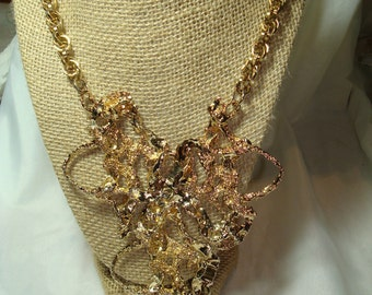 1984 LARGE Golden Nugget Bling Bling Rapper Necklace.