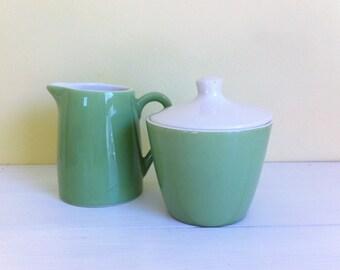 Vintage Royal China Dinnerware, Bountiful Pattern, Green/White Sugar & Creamer