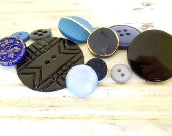Mixed Button Lot, One Dozen Vintage & New, Blue, Black, Craft Sewing Supplies