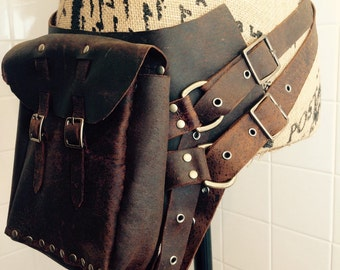 Leather Steam Punk Side Bag Purse