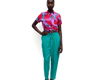 SALE!!!!!!!! Teal green high waist high rise tapered trousers with front yoke PLUS size 1990s 90s VINTAGE