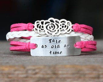 Hand Stamped  Bracelet Tale as Old as Time  Rose bracelet