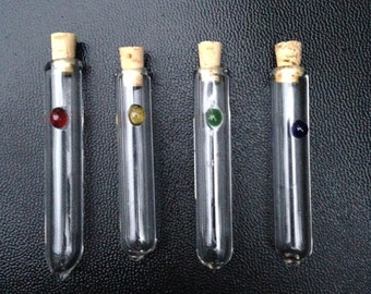 Four 4 Glass Vials With Corks