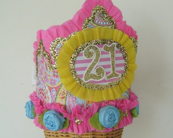 21st Birhday Hat -customize with any number Pink and Yellow