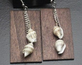 Sea Shell Wood Stained Earrings