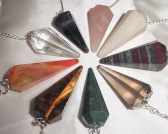CRYSTAL PENDULUM-With 7 Chakra Stones/B-Choose from 9 Different Stones-A pendulum works like muscle testing or kinesiology