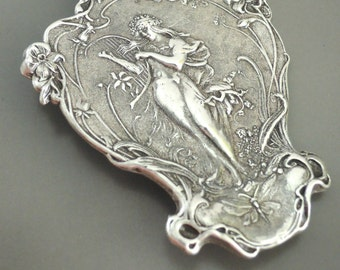 Vintage Brooch - Art Nouveau Jewelry - Statement Jewelry - Peaceful Woman - Vintage Silver Brooch - handmade jewelry