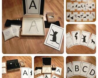 Montessori Sand box, Alphabet box, Alphabet sandbox, Sensory play box, Chalkboard Sandbox, Drawing box, christmas present