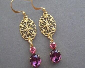 Dangle Earrings - Drop Earrings - Filigree Earrings - Rhinestone Earrings - Purple Earrings - Romantic Earrings - Romantic Jewelry