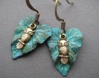 Tiny Owl Earrings - Owl Jewelry - Woodland Earrings - Nature Jewelry - Leaf Earrings - Nature Earring - Verdigris Leaf Jewelry - Nature Gift
