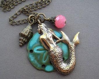 Mermaid Necklace - Mermaid Jewelry - Mermaid Charm Necklace - Ocean Jewelry - Sand Dollar Necklace - Beach Jewelry - Sea Jewelry