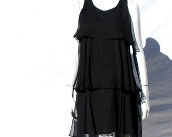 Vintage 70's sheer gauzy polyester ruffle tiered sexy LBD MOD style dress sM by thekaliman