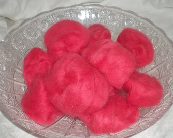 Hand Combed Alpaca Top Cherry Red Hand Dyed Roving 2 oz.