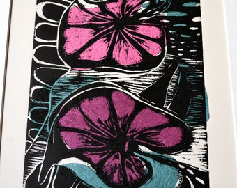 Flowers Woodcut Print with Chine Colle