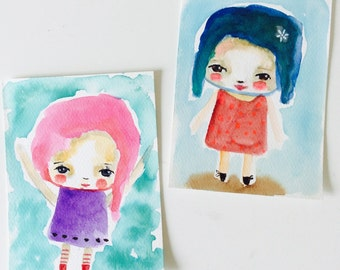Girls  -  watercolor original painting,  Watercolor girl, whimsical art, wall art, sweet art, pack