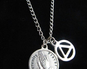 Men's Recovery Stainless Steel Necklace with Serenity Prayer Charm and the AA Symbol - Addiction Jewelry - 12 Step