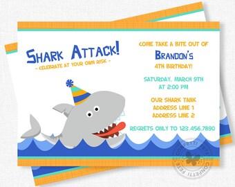 shark party invitations  etsy, party invitations