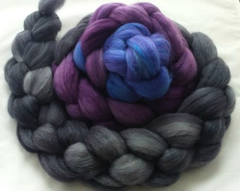 "Hand Dyed Polwarth/ Yearling Mohair/Silk Combed Top ""Those Were the Days (""my friend"") 4 Oz."