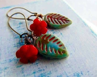 Green Glass Leaf and Red Glass flower Earrings