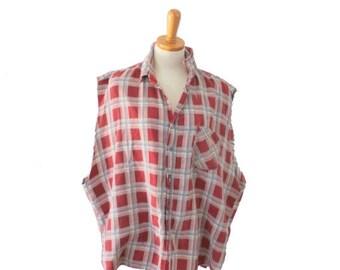 30% off sale // Vintage 80s Cut Off Sleeveless Flannel Shirt // men 2xl xxl // Rust Brown Plaid Punk Grunge, Prestige Global