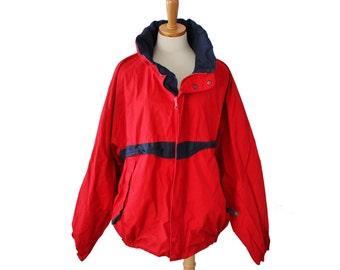 Vintage 90s Nautica Reversible Red and Blue Coat  - Men XL - hip hop, sailboat