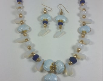 Cloisonne Shell lampwork beads and Sea Glass jewelry set