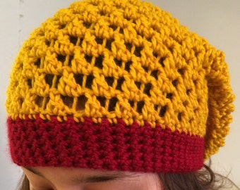 Crocheted oversized slouchy hat