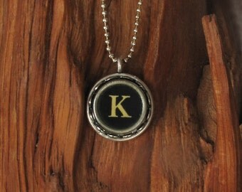 The Letter K Vintage Typewriter Key Necklace Pendant