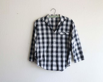 Basic Black and White Checkered Plaid Blouse