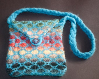 Felted handbag, Blue with Handpainted Yarn, Knitted