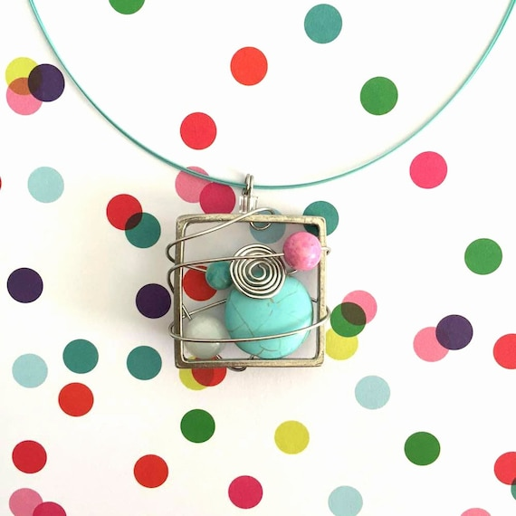 Square metal stainless necklace turquoise, pink, white beads pewter and stainless steel on color tiger tails, les perles rares